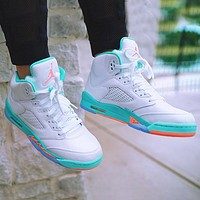 Onewel Air Jordan 5 Basketball Shoes High Top Women's Shoes AJ5 White Lake Water Blue