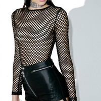 Stevie Fishnet Long Sleeve Bodysuit