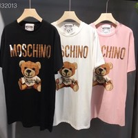 """""""MOSCHINO"""" Women's Leisure Fashion Letter Printing Large size loose Short Sleeve Tops"""