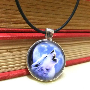 Cabochon Howling Wolf Choker Necklace, Blue Wolf and Moon Charm, Animal Necklace, Mens Jewelry, Boys Necklace, Unisex Jewelry, Boho Choker