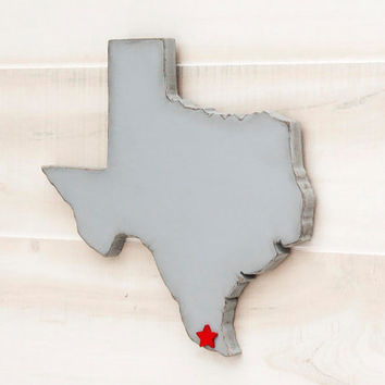 Texas state shape sign wood cutout wall art with heart or star 35 Colors. Wedding Guestbook Anniversary Gift Country Cottage Chic Decor