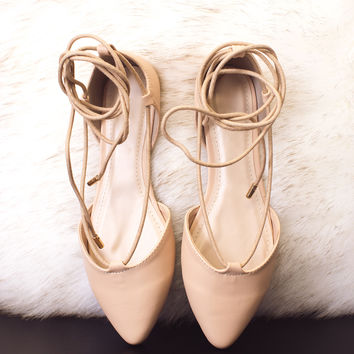 Blanca Lace Up Ballet Flats - Nude