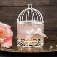 Hanging Lanterns - Shabby Silver Pink Wedding Wire Bird Cages - Metal Tealight Candle Holder - Set of 2