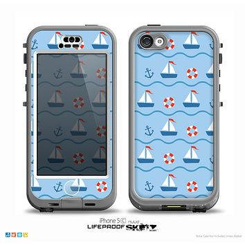 The Blue & Red Nautical Sailboat Pattern Skin for the iPhone 5c nüüd LifeProof Case