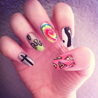 90s Grunge Mixed Manicure by LetsGetNailed on Etsy