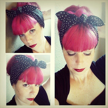 Black white Polka dot one sided WIDE Headwrap Bandana Hair Bow Tie 1950s Vintage Style - Rockabilly - Pin Up - For Women, Teens