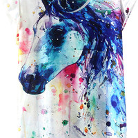 Horse Print Short Sleeve Graphic Tee