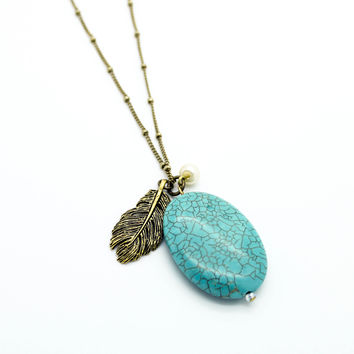 Feather stone long necklace