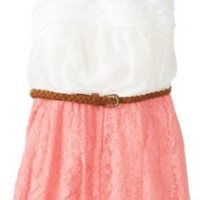 Rare Editions Big Girls' Chiffon and Lace Romper with Braided Belt, Coral/Ivory, 12
