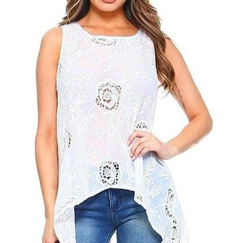 Eyelet Lace Hi-Lo Extended Top