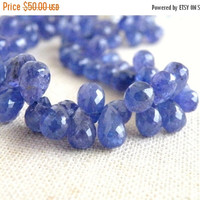 Super SALE Outstanding Tanzanite Gemstone Faceted 3d Teardrop Briolette 9mm 9 beads