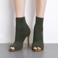 Early spring new knit fish mouth high-heeled elastic socks boots wool boots