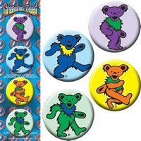 Grateful Dead Four Button Pin Set Dancing Bears