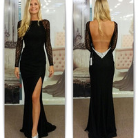 Backless Split Black Lace Prom Dresses