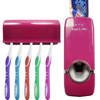 Hands Free Automatic Toothpaste Dispenser With Five Toothbrush Holder Set