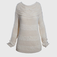 Ivory Two Tone Knit Sweater
