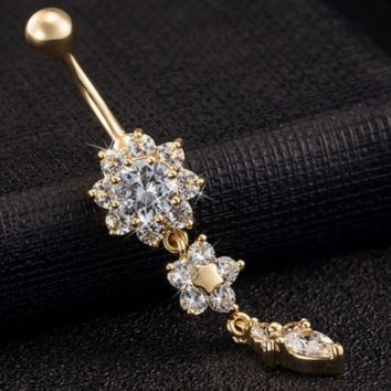 Beautiful Crystal Flower Dangle Gold Navel Belly Button Ring