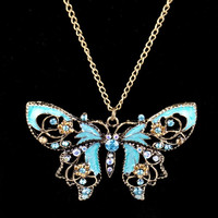 1Pc Vintage Hollow Crystal Butterfly Pendant Long Chain Necklace Retro Color (Size: 70 cm) = 1946318916