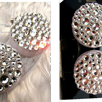 Full Pearl and Crystal Travel Eye Contact Lens Case Care Kit Box