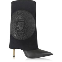 Balmain Babette Black Leather and Suede High Heel Boots