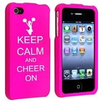 Apple iPhone 4 4S Rubber Hard Case Snap on 2 piece Keep Calm and Cheer On-Hot Pink