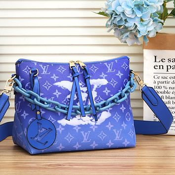 Inseva LV Louis Vuitton Crossbody Bag LV Letters Print Chain Bag Shopping Bag Gradient Color monogram Blue