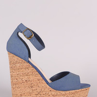 Bamboo Denim Nubuck One Band Platform Wedge