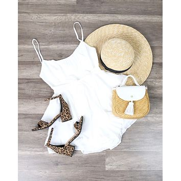 Angel Tiered Ruffle Cami Romper in White