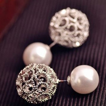 Silver Pearl Earrings, women's earrings, pearl stud earrings, double sided earrings, silver plated stud earrings, dressy earrings