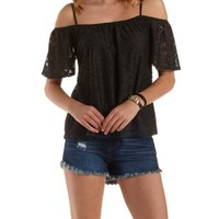 Black Cold Shoulder Tiled Lace Top by Charlotte Russe