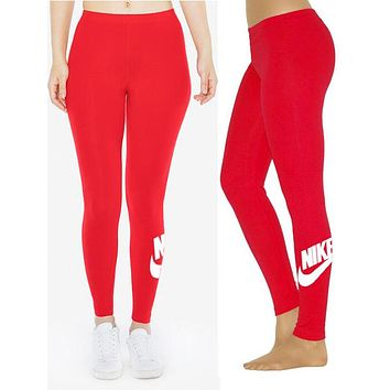 Nike Fashion Print Exercise Fitness Gym Yoga Running Leggings Sweatpants Red