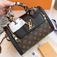 LV Louis Vuitton New fashion monogram print leather pillow shape boston shoulder bag crossbody bag handbag women Black