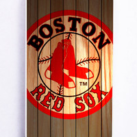 Boston Red Sox On Wood for Iphone 5C Hard Cover Plastic