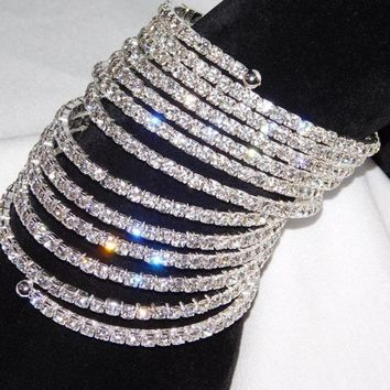 12 Rows Spiral Party Clear Rhinestone Bangle Crystal Upper Arm Bracelet Cuff Wedding Bridal Jewelry Accessories for Women