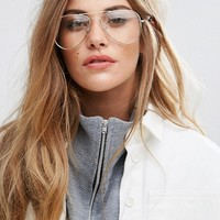 Jeepers Peepers Clear Lens Aviator in Gold Frame at asos.com