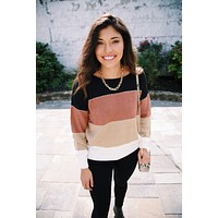 Christine Striped Color Block Sweater, Black Combo