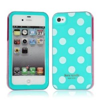 Kate Spade Light Blue With White Dots Hardshell Case Cover For iPhone 4G 4S H003