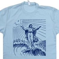 Surfing Jesus T Shirt Vintage Surfing T Shirt Surf Jesus Shirt 80s Surfer Tees