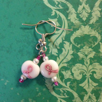 Breast Cancer Awareness Earrings - White and Pink Ribbon