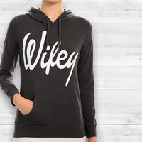 Black Letter Print Pullover Hoodie With Pocket Shirt