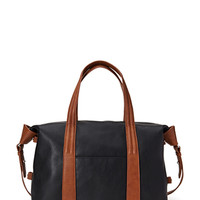 FOREVER 21 Textured Faux Leather Tote Black/Tan One