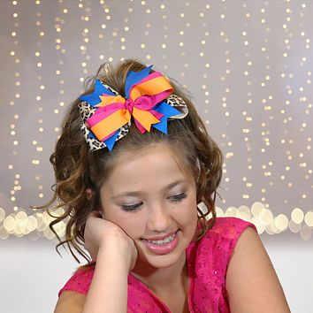 Girls Animal Print Round Layered Boutique Hair Bow