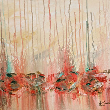 Rhythm 16x20 Original Abstract Painting Red by KamaraLarryStudio