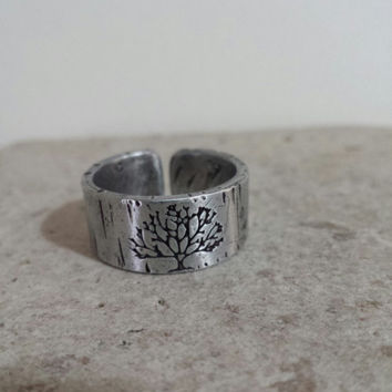 tree of life ALUMINUM ADJUSTABLE RING - Hammered And Distressed - Men's Ring - Women's Ring - Made To Order - Size 6-14  - Thumb Ring