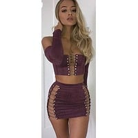 SERENA SUEDE LACE-UP SKIRT SET
