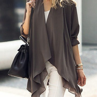 Gray Roll Up Sleeve Open Front Layer Trench Coat