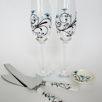 5 pc SET of Hand painted Wedding Toasting Flutes and cake knives and ring dish Aqua birds and brown ornaments