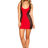 RED MINI DRESS WITH SWERVED GLITTER SHEER MESH SIDES