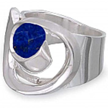 Spirals of Time Sterling Silver and Lapis Lazuli Ring
