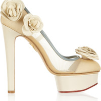 Charlotte Olympia - Flora leather and mesh pumps